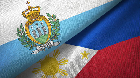 San Marino and Philippines two flags textile cloth, fabric texture