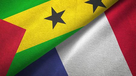 Sao Tome and Principe and France two flags Banco de Imagens