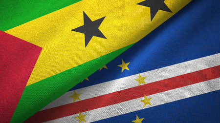 Sao Tome and Principe and Cape Cabo Verde two flags