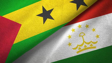 Sao Tome and Principe and Tajikistan two flags Banco de Imagens