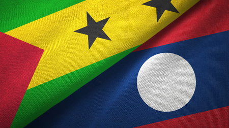 Sao Tome and Principe and Laos two flags textile cloth