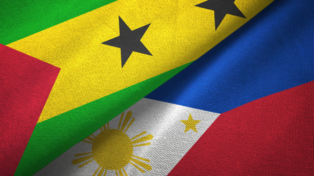 Sao Tome and Principe and Philippines two flags Stock Photo