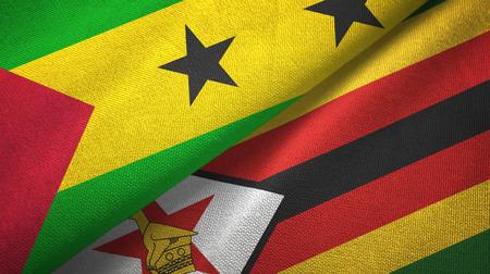 Sao Tome and Principe and Zimbabwe two flags Banco de Imagens