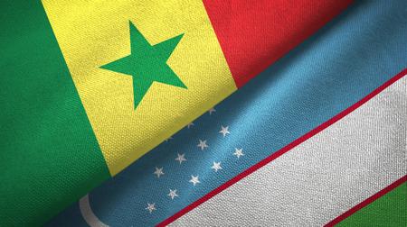 Senegal and Uzbekistan two flags textile cloth, fabric texture