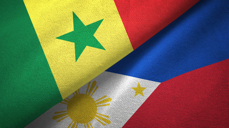 Senegal and Philippines two flags textile cloth, fabric texture