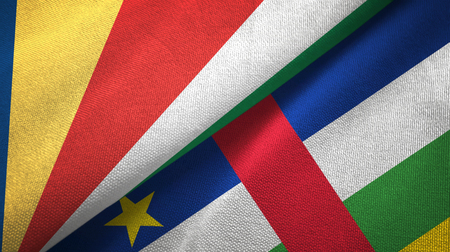 Seychelles and Central African Republic two flags textile fabric texture