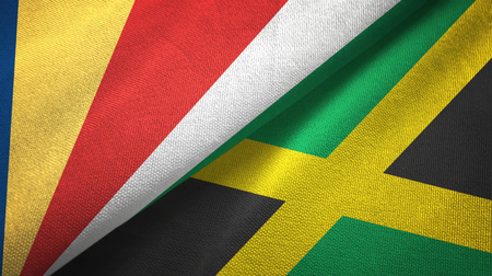 Seychelles and Jamaica two flags textile cloth, fabric texture