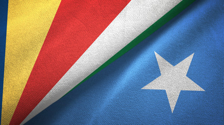 Seychelles and Somalia two flags textile cloth, fabric texture Banque d'images