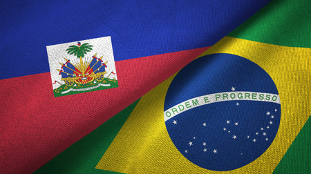 Haiti and Brazil two flags textile cloth, fabric texture