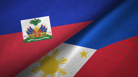Haiti and Philippines two flags textile cloth, fabric texture