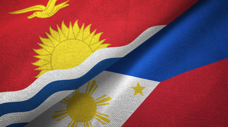 Kiribati and Philippines two flags textile cloth, fabric texture