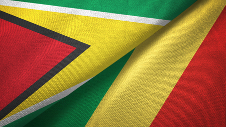 Guyana and Congo two flags textile cloth, fabric texture