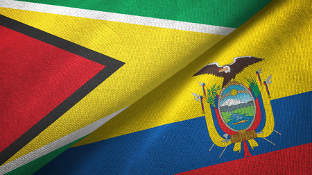 Guyana and Ecuador two folded flags together Stock Photo