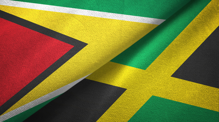 Guyana and Jamaica two flags textile cloth, fabric texture