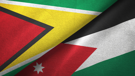Guyana and Jordan two flags textile cloth, fabric texture