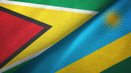 Guyana and Rwanda two flags textile cloth, fabric texture