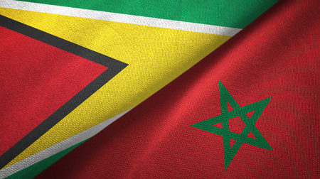 Guyana and Morocco two flags textile cloth, fabric texture