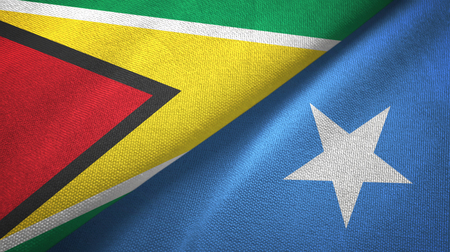 Guyana and Somalia two flags textile cloth, fabric texture