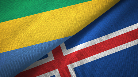 Gabon and Iceland two flags textile cloth, fabric texture