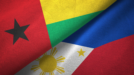 Guinea-Bissau and Philippines two flags textile cloth, fabric texture