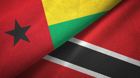Guinea-Bissau and Trinidad and Tobago two folded flags together