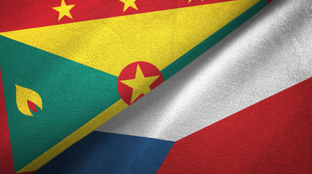Grenada and Czech Republic two flags textile cloth, fabric texture Stock Photo