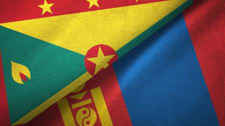 Grenada and Mongolia two flags textile cloth, fabric texture Stock Photo