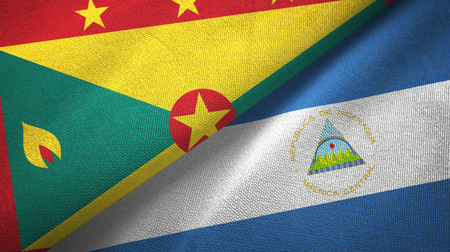 Grenada and Nicaragua two folded flags together