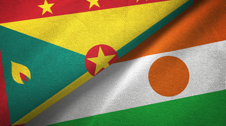 Grenada and Niger two folded flags together