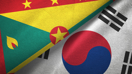 Grenada and South Korea two flags textile cloth, fabric texture