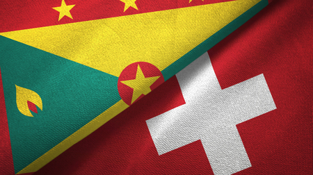 Grenada and Switzerland two flags textile cloth, fabric texture