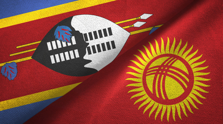 Eswatini Swaziland and Kyrgyzstan two flags textile cloth, fabric texture