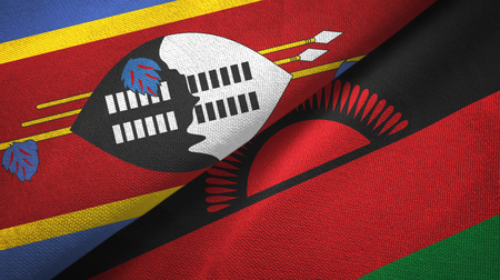Eswatini Swaziland and Malawi two flags textile cloth, fabric texture