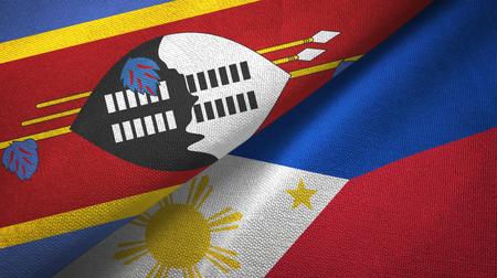 Eswatini Swaziland and Philippines two flags textile cloth, fabric texture Stock Photo