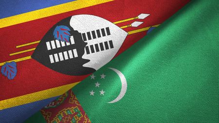 Eswatini Swaziland and Turkmenistan two flags textile cloth, fabric texture