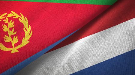 Eritrea and Netherlands two flags textile cloth, fabric texture Foto de archivo