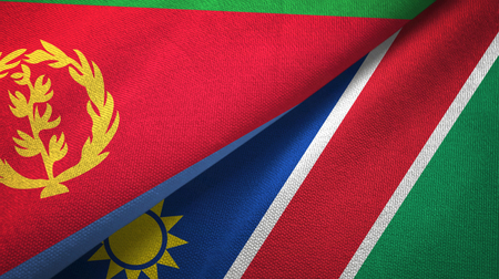 Eritrea and Namibia two flags textile cloth, fabric texture