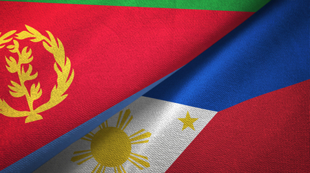Eritrea and Philippines two flags textile cloth, fabric texture