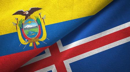 Ecuador and Iceland two flags textile cloth, fabric texture