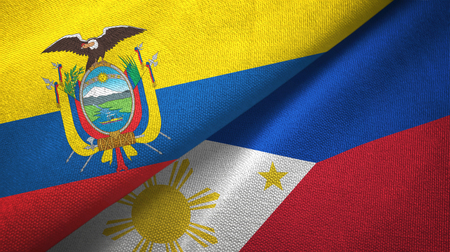 Ecuador and Philippines two flags textile cloth, fabric texture Stock Photo
