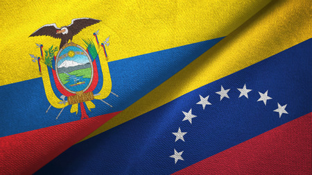 Ecuador and Venezuela two flags textile cloth, fabric texture 스톡 콘텐츠