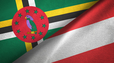 Dominica and Austria two flags textile cloth, fabric texture