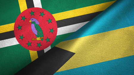 Dominica and Bahamas two flags textile cloth, fabric texture