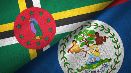 Dominica and Belize two flags textile cloth, fabric texture