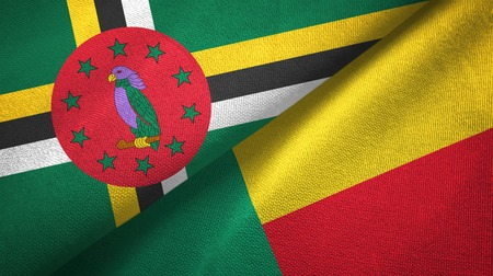 Dominica and Benin two flags textile cloth, fabric texture