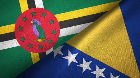 Dominica and Bosnia and Herzegovina two flags textile cloth, fabric texture