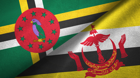 Dominica and Brunei two flags textile cloth