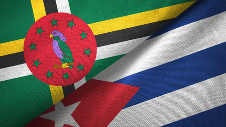Dominica and Cuba two flags textile cloth, fabric texture