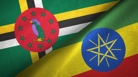 Dominica and Ethiopia two flags textile cloth, fabric texture