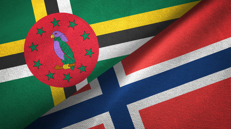 Dominica and Norway two flags textile cloth, fabric texture Stock Photo